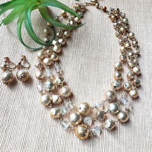 Vintage Midcentury Triple Strand Necklace Set